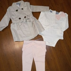 NWT Tahari Baby Trench Coat Outfit